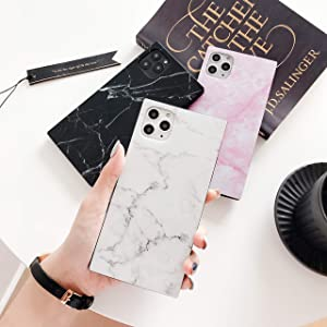 Cocomii Square Marble iPhone 12/12 Pro Case, Slim Thin Glossy Soft Flexible TPU Silicone Rubber Gel Trunk Box Square Edges Fashion Bumper Cover Compatible with Apple iPhone 12/12 Pro (White)