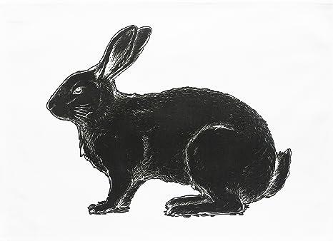 El Negro Conejo – grande de algodón toalla de té por la mitad de un burro