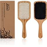 Bamboo Hair Brush Set By JUNE Care - 1 Natural Boar Bristle Hair Brush and 1 Detangler Wooden Paddle Hair Brush with Grass Tree Wood Pins