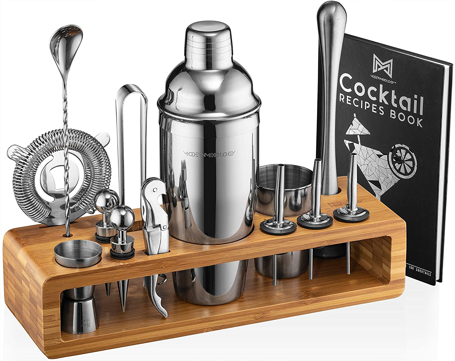 Mixology Bartender Kit: 23-Piece Bar Set Cocktail Shaker Set with Stylish Bamboo Stand | Perfect for Home Bar Tools Bartender Tool Kit and Martini Cocktail Shaker for Awesome Drink Mixing Experience