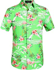 SSLR Men's Flamingos Casual Short Sleeve Aloha Hawaiian Shirt