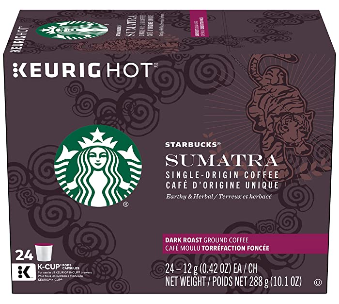 Starbucks Sumatra Dark Roast Single Cup Coffee for Keurig Brewers, 24Count