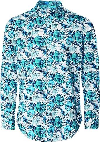 Ganesh Hombres Camisa Floral de algodón Verde L: Amazon.es: Ropa