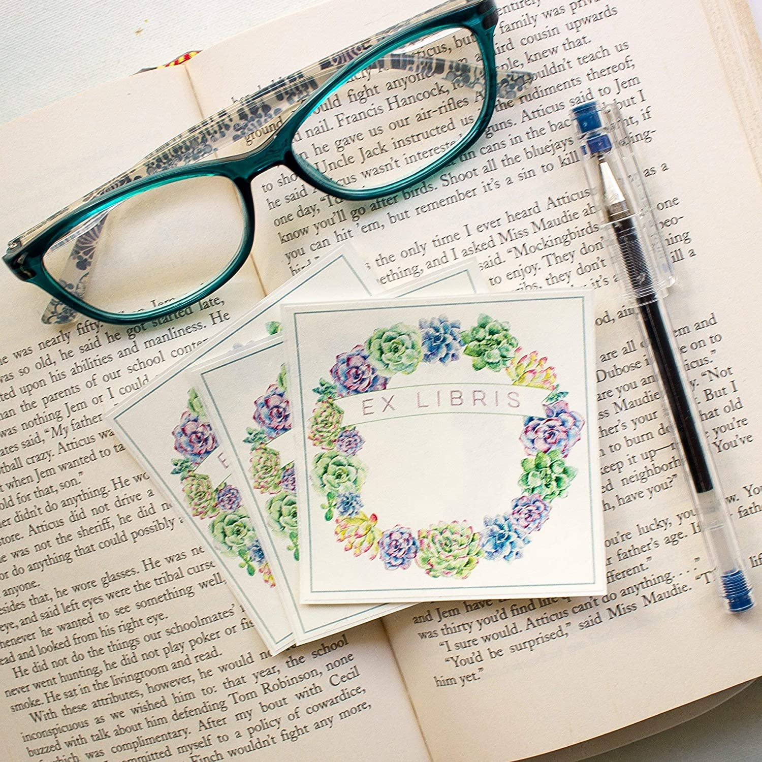 Succulent Wreath Bookplate Stickers personalized book labels set of 10