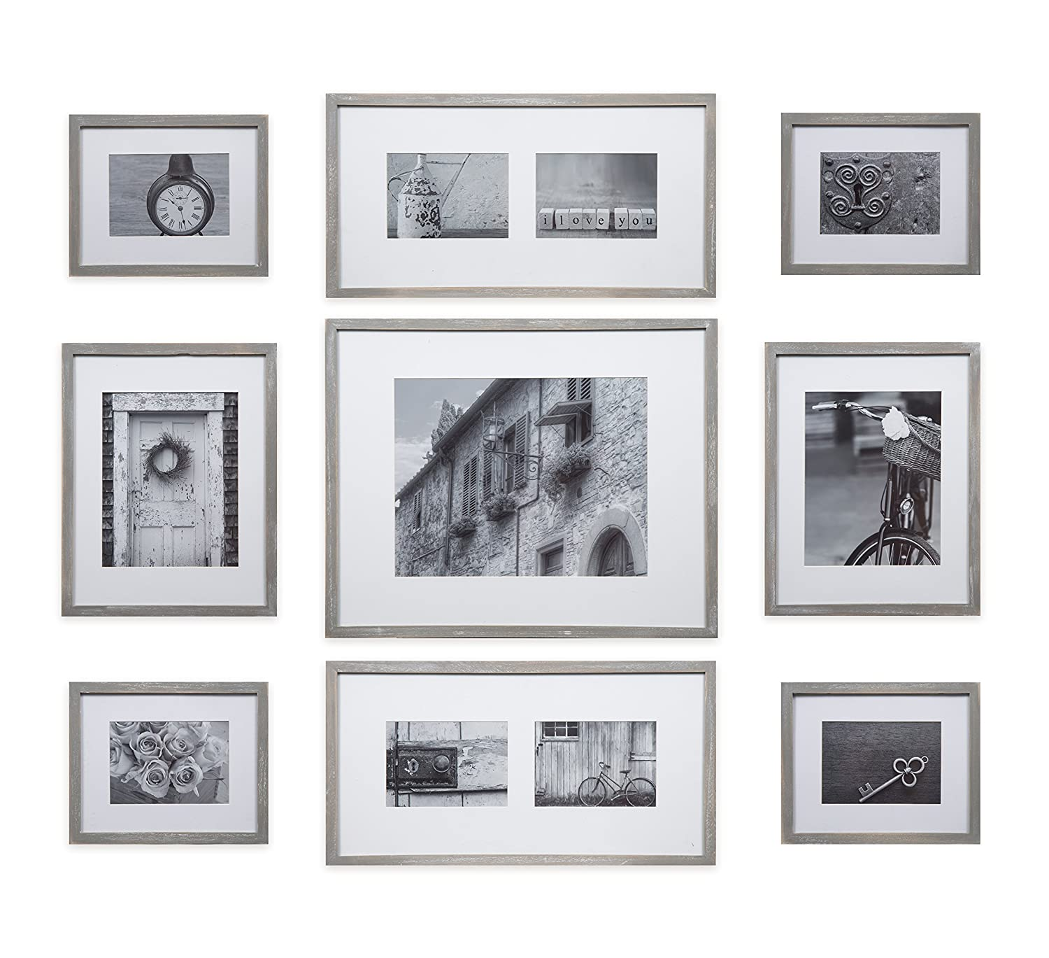 Gallery Perfect Decorative Art Prints & Hanging Template 9 Piece Greywash Wood Photo Frame Wall Gallery Kit Grey