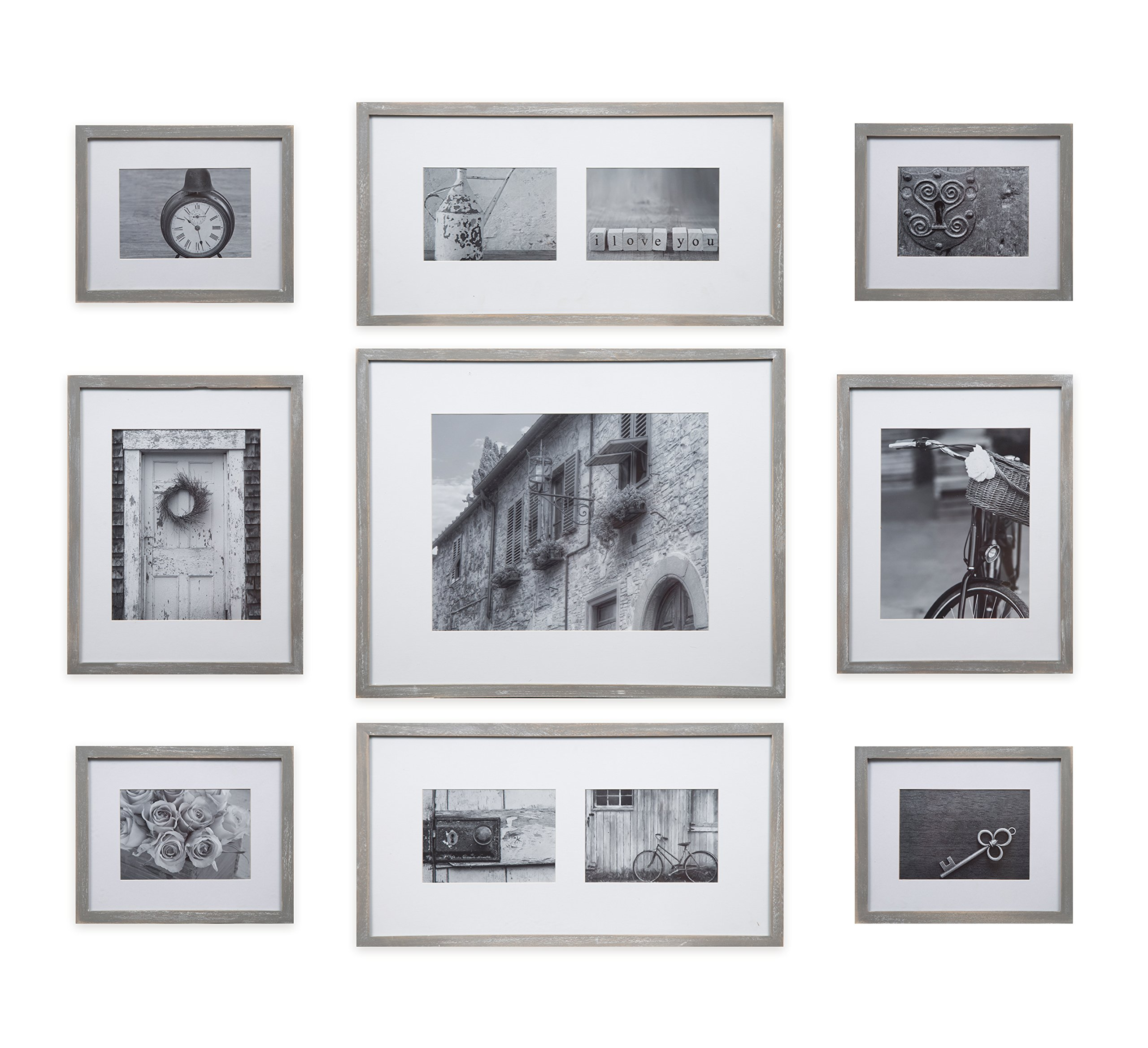 Gallery Perfect Decorative Art Prints & Hanging Template 9 Piece Greywash Wood Photo Frame Wall Gallery Kit, Grey