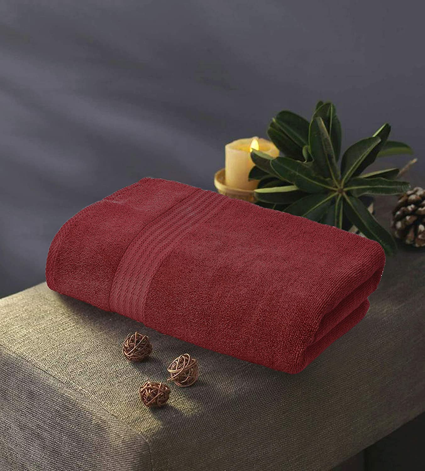 Ideal for Everyday use Machine Washable Burgundy GLAMBURG Premium Cotton Oversized 2 Pack Bath Sheet 35x70-100/% Pure Cotton Ultra Soft /& Highly Absorbent