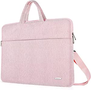 ZWOOS Laptop Case Bag, Water-resistan Protective Laptop Shoulder Carrying Case With Shoulder Strap and Handle for 14 15 15.6 inch Lenovo Acer Asus Dell Lenovo Hp Samsung Ultrabook, Pink