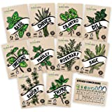 Culinary Herb Seeds 10 Pack – Over 4000 Seeds! 100% Non GMO Heirloom - Basil, Cilantro, Parsley, Chives, Thyme, Oregano, Dill