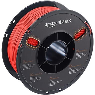 AmazonBasics PLA 3D Printer Filament, 1.75mm, Translucent Red, 1 kg Spool