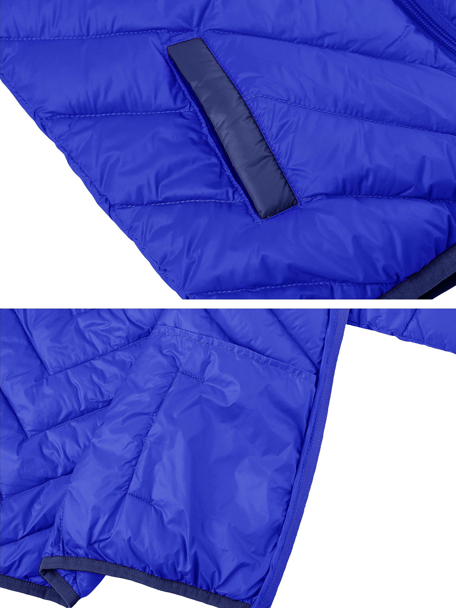 Wantdo Boy's Lightweight Packable Puffer Down Jacket Hooded Windproof Color Block Winter Coat(Sapphire Blue, 8) by Wantdo (Image #5)