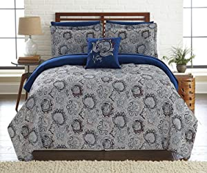Corsicana Collection| 8-Piece Reversible Comforter Set, Ultra-Soft Complete Bedding Set by Amrapur Overseas