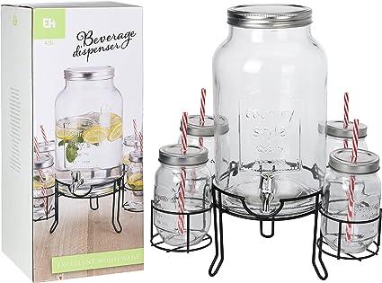Dispensador de Bebidas con 4 Vasos Vintage Coconut