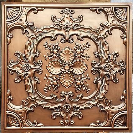 Amazon.com: Pl19 Faux Tin 3d Ceiling Tiles Antique Copper Embossing ...