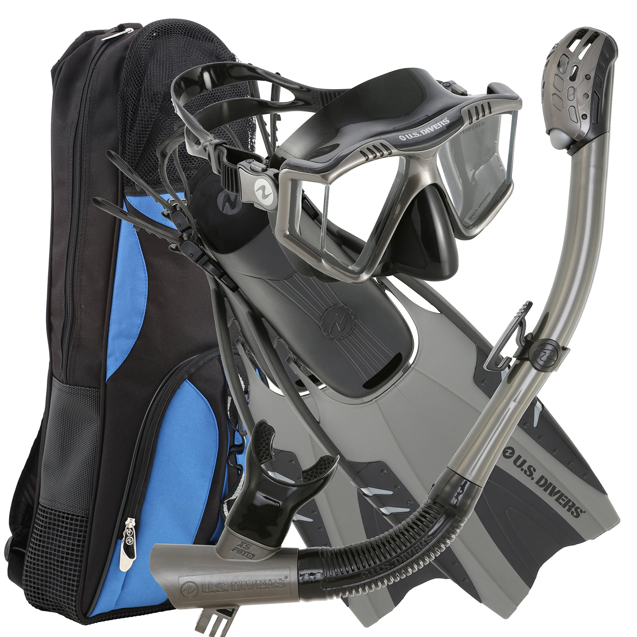 U.S. Divers Lux Platinum Snorkeling Set - Panoramic View Mask, Pivot Fins, GoPro Ready Dry Top Snorkel + Gear Bag, Gun Metal L/LX by U.S. Divers