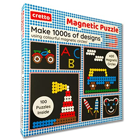 cretto Magnetic Puzzle to Make 1000s of Designs with Colourful Magnetic Circles (400 Magnets, 100 Puzzle Book, Magnetic Board) Jigsaw Puzzles at amazon