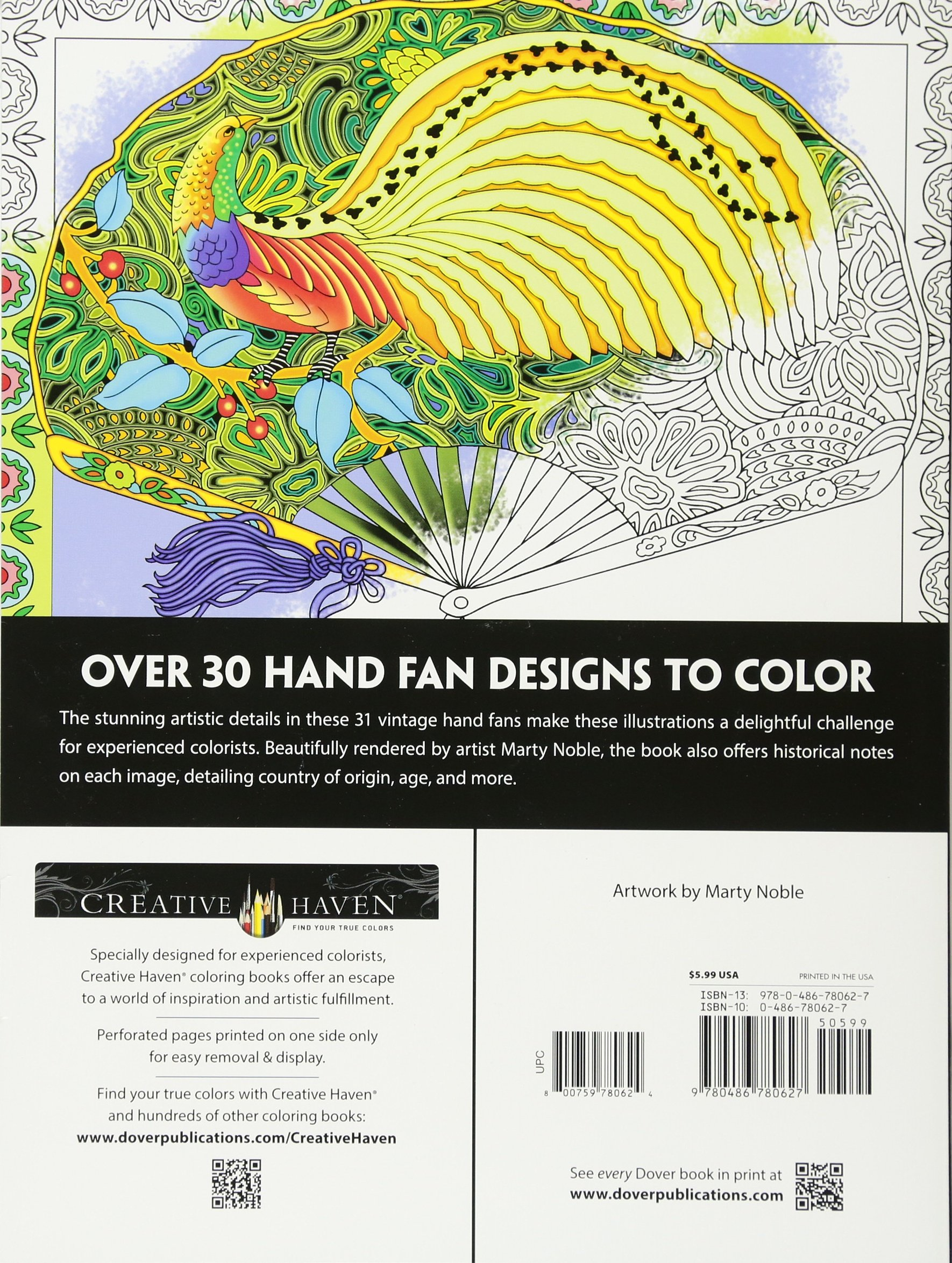 Creative Haven Vintage Hand Fans Coloring Book Marty Noble 8601419687671 Books