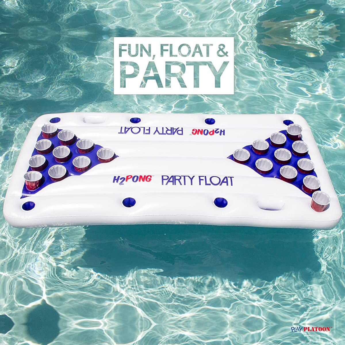 Play Platoon H2PONG Inflatable Beer Pong Table Float, Includes 5 Ping Pong Balls - Floating Pool Party Game Raft and Lounge