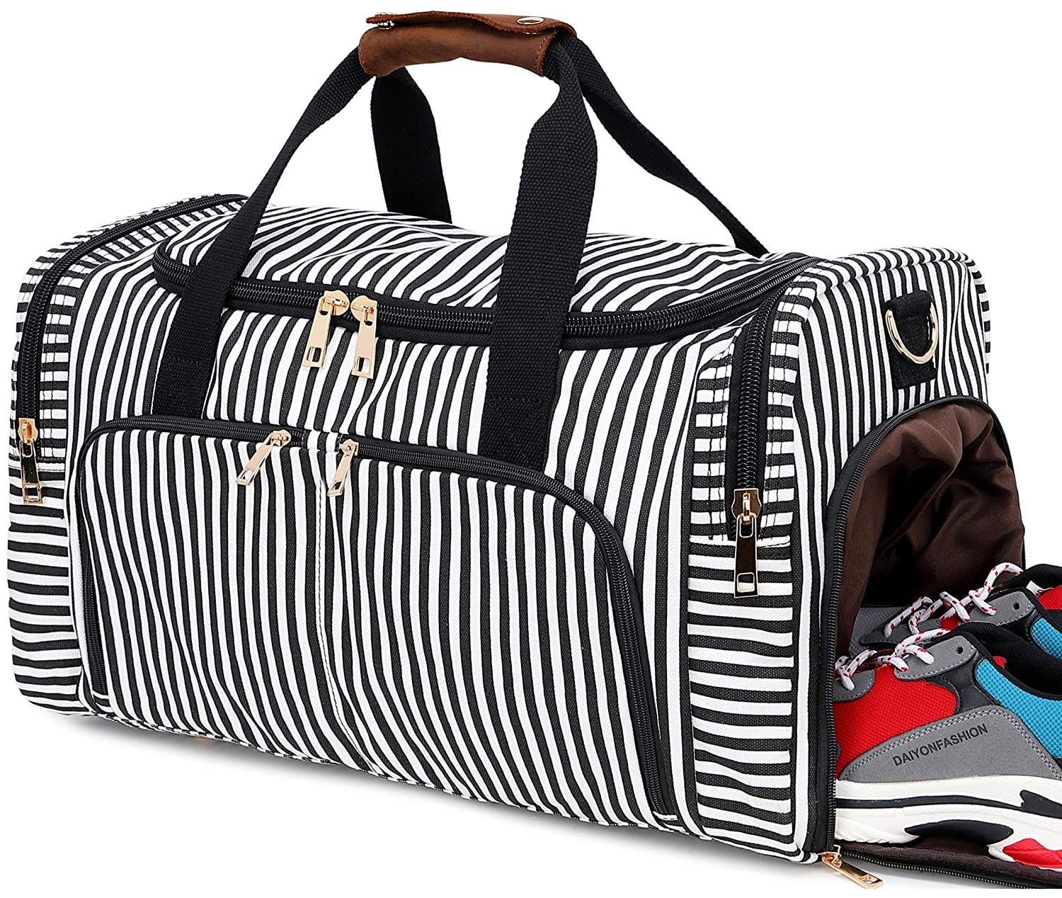 Weekender Overnight Duffel Bag Travel Tote Bag with Shoe Compartment in Trolley Sleeve Canvas Duffel Bag for Men and Women
