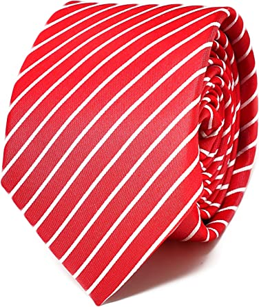 Oxford Collection Corbata de hombre Rojo a Rayas - 100% Seda ...
