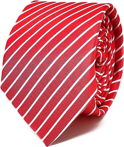 Oxford Collection Corbata de hombre Rojo a Rayas - 100% Seda - Clásica, Elegante y Moderna - (ideal para un regalo, una boda, con un traje, en la oficina.): Amazon.es: Ropa y accesorios