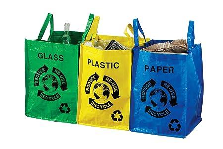 Premier Housewares Set di 3 sacchetti per raccolta differenziata, Plastica, vetro e carta