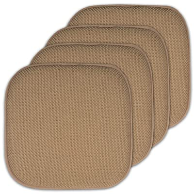 Sweet Home Collection 16x16 Memory Foam Chair Pad/Seat Cushion Pairs with Non-Slip Backing - 16 X 16 Taupe Set of 4 Indoor-Outdoor: Home & Kitchen