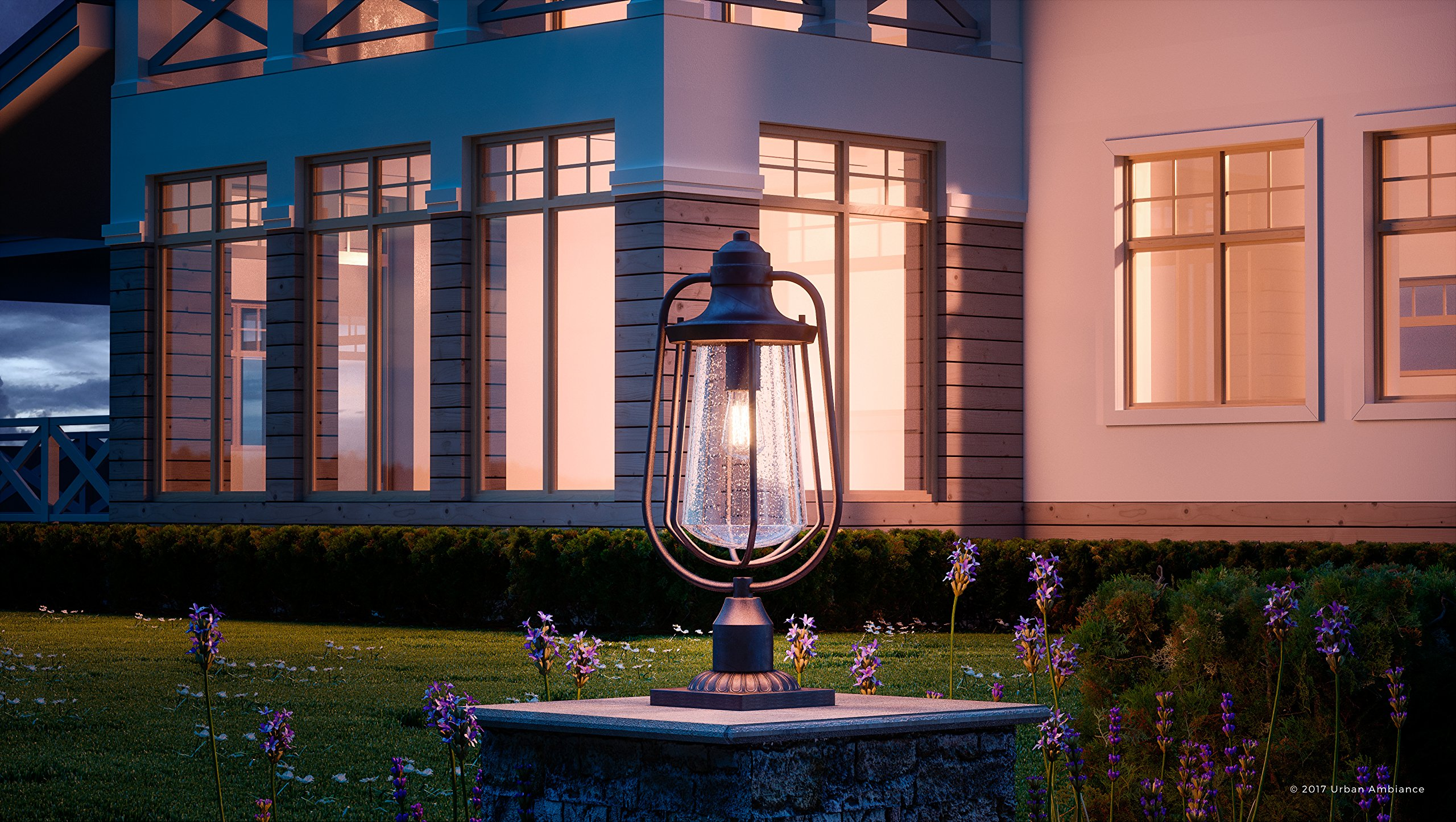 Luxury Vintage Outdoor Post Light, Large Size: 23''H x 11''W, with Nautical Style Elements, Cage Design, Estate Bronze Finish and Seeded Glass, Includes Edison Bulb, UQL1124 by Urban Ambiance by Urban Ambiance (Image #2)