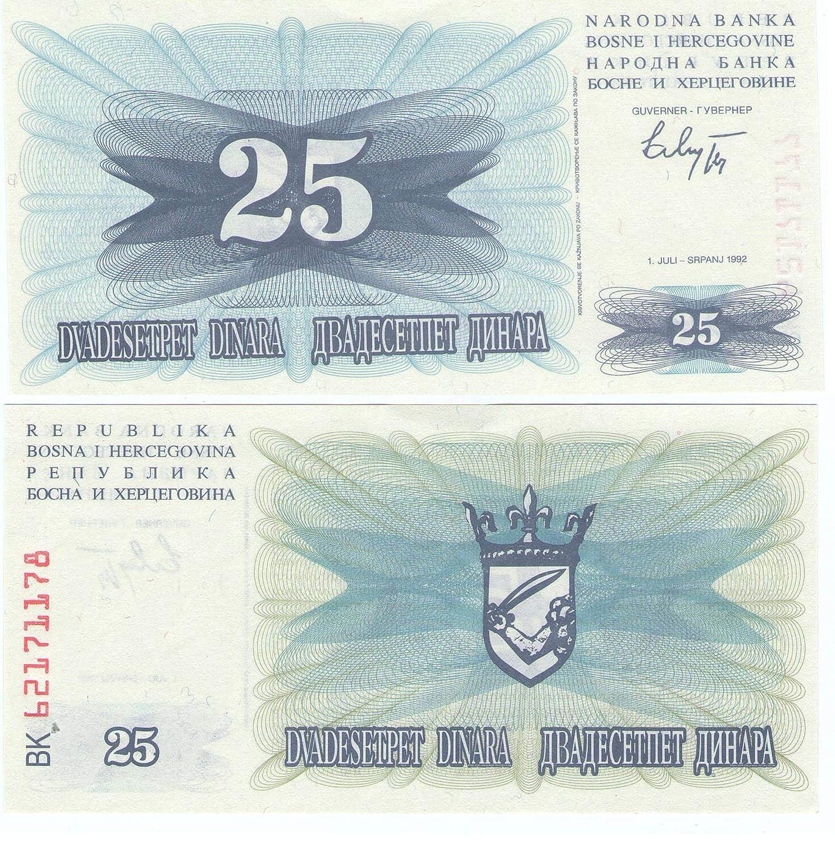1992 Banconote da Collezione Bosnia 7 UNC Bank of Bosnia 25 Dinara banconote Crisp