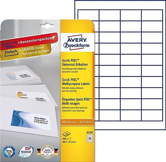 Avery Zweckform 6126 Adressetiketten (A4, Papier matt, 400 Etiketten ...