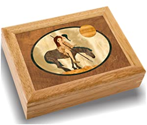 MarqART American Indian Wood Art Jewelry Trinket Box & Gift - Handmade USA - Unmatched Quality - Unique, No Two are The Same - Original Work of Wood Art (#2112 End of Trail 6x8x2)