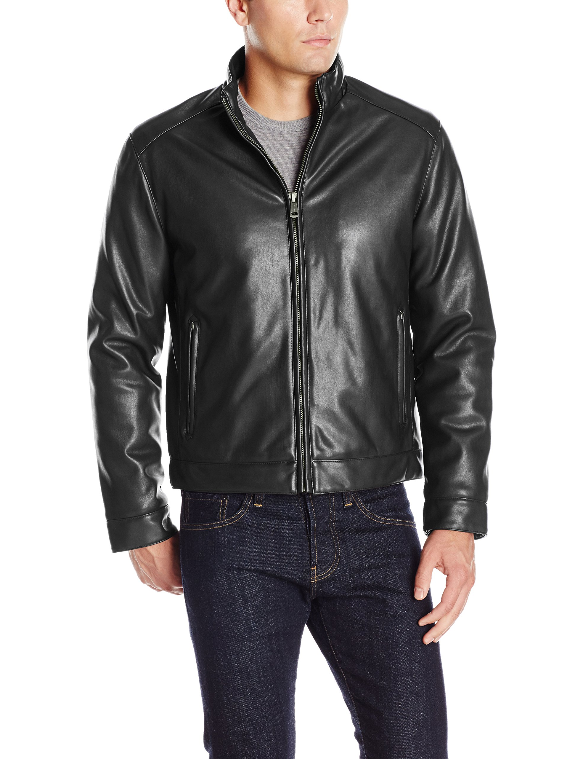 Cole Haan Signature Men's Zip Front Faux Leather Moto Jacket, Black, XX-Large