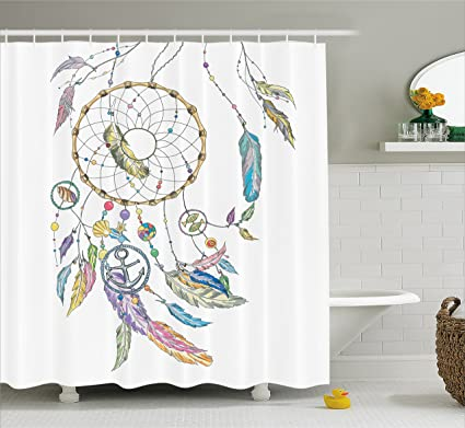 Native American Decor Shower Curtain By Ambesonne Ethnic Dreamcatcher With Marine Objects Shell Fish Anchor