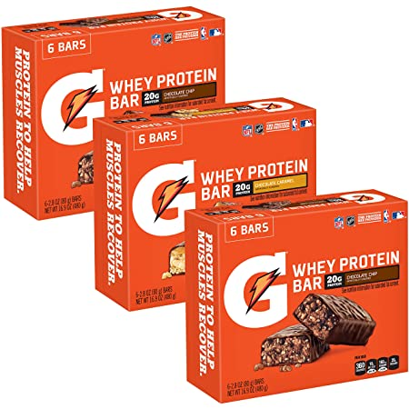 Gatorade Whey Protein Bars, Variety Pack, 2.8 oz bars Pack of 18