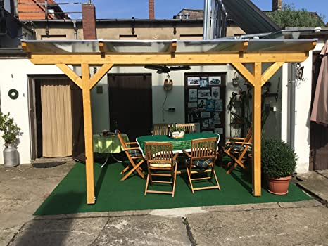 Luxbach GmbH - Cubierta para terraza, 600 x 500 cm / 6 x 5 m, madera de pérgola BSH, planchas alveolares de 16 mm, transparente: Amazon.es: Jardín
