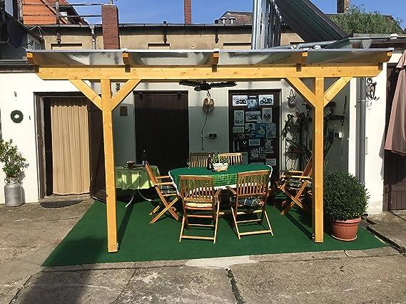 Luxbach GmbH - Cubierta para terraza, 400 x 500 cm / 4 x 5 m, madera encolada, pérgola BSH, planchas alveolares de 16 mm, transparente: Amazon.es: Jardín