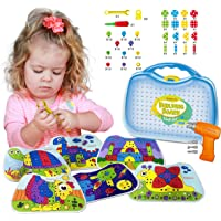Kidtastic Building Board Drill Set (203 pcs) STEM Toys for 4 Years Old, Screw Puzzle Peg with Real Drill, Tinker Toys for Boys & Girls - Build, Tweak & Tinker - 3D Puzzle Toy & Toddler Peg Board Set