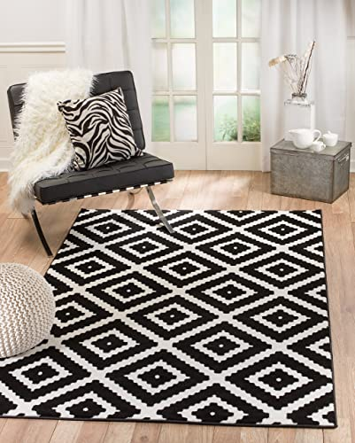 Summit 46 Black White Diamond Area Rug Modern Abstract Many Sizes Available 3'.6″ x 5'