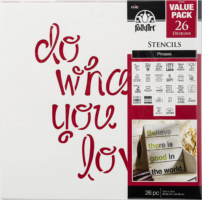 FolkArt Die Cut Paper Stencils, E Phrases (26-Pack)