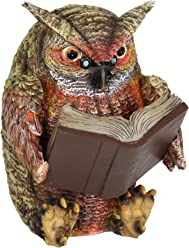 """Exhart Owl Reading Book Statue, Solar Powered, Resin, Weather Resistant, Indoors & Outdoors, 7"""" L x 9"""" W x 9"""" H"""