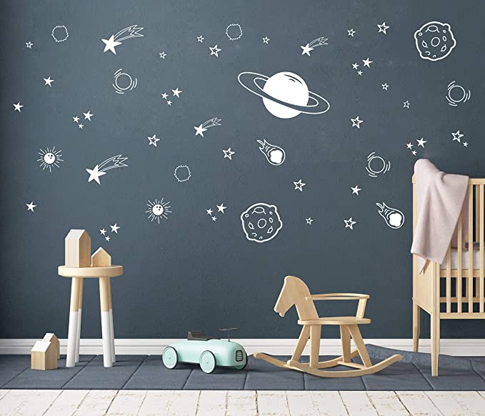 L/&6 Earth PVC Waterproof Luminous Planet Wall Stickers Decals Kids Room Decor