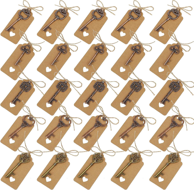 Clave Abrebotellas Varios Style Vintage Skeleton Claves con Etiquetas de Tarjeta para Obsequios de Bodas Cumpleaños y Fiestas 25 Pcs
