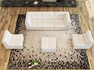 J and M Furniture 6 Piece Lego Living Room Sectional and Sofa Set, Pumpkin
