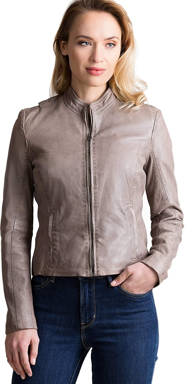 b10b4873ff3 Overland Sheepskin Co Chessy Lambskin Leather Moto Jacket at Amazon Women's  Coats Shop