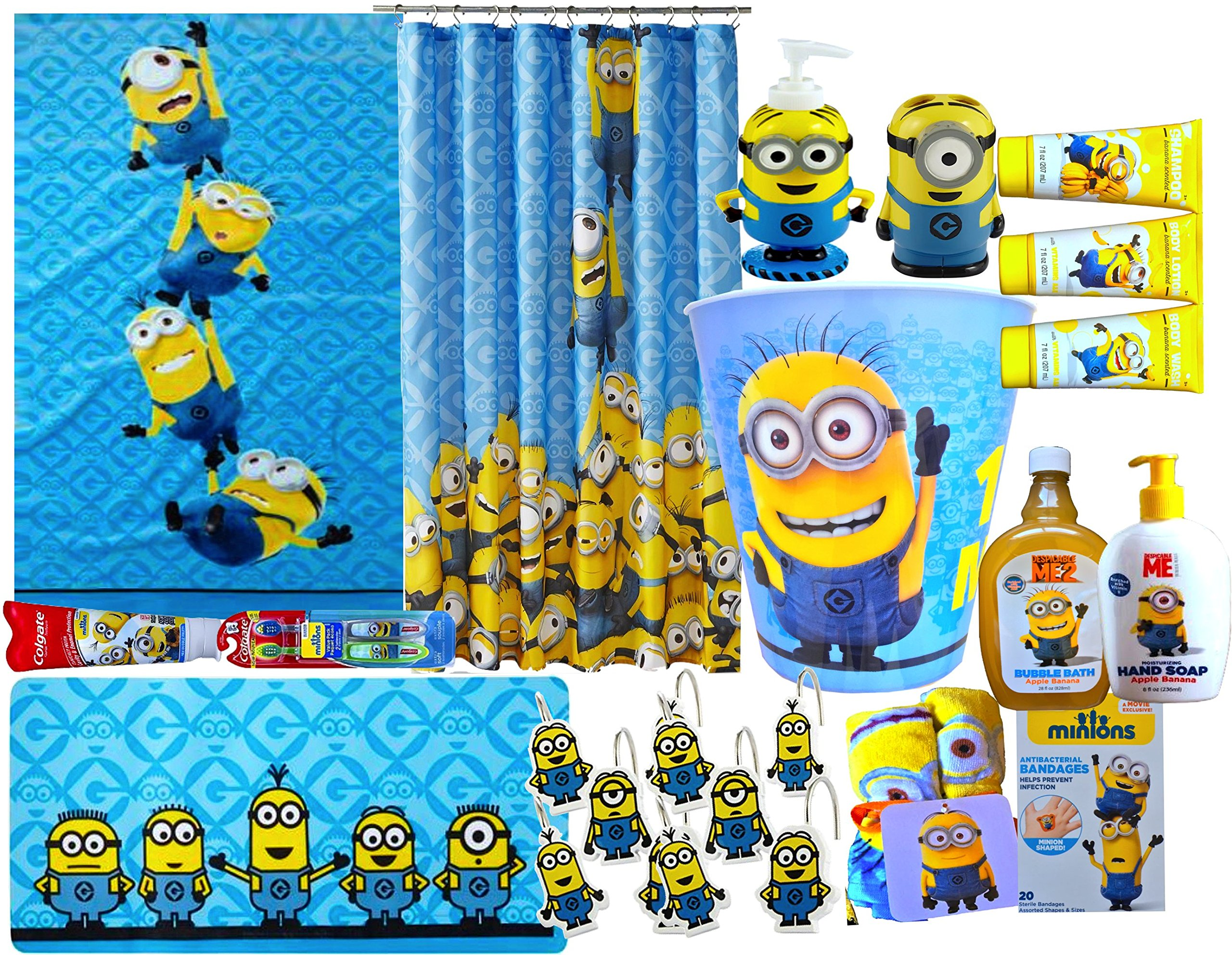 Minions Movie Exclusive 16 Piece Jumbo Children's Bathroom Gift Set Includes Minions Bath Towel, Minions Shower Curtain, Minions Wastebasket, Minions Shower Hooks, Bath Rug & More ! by Minions