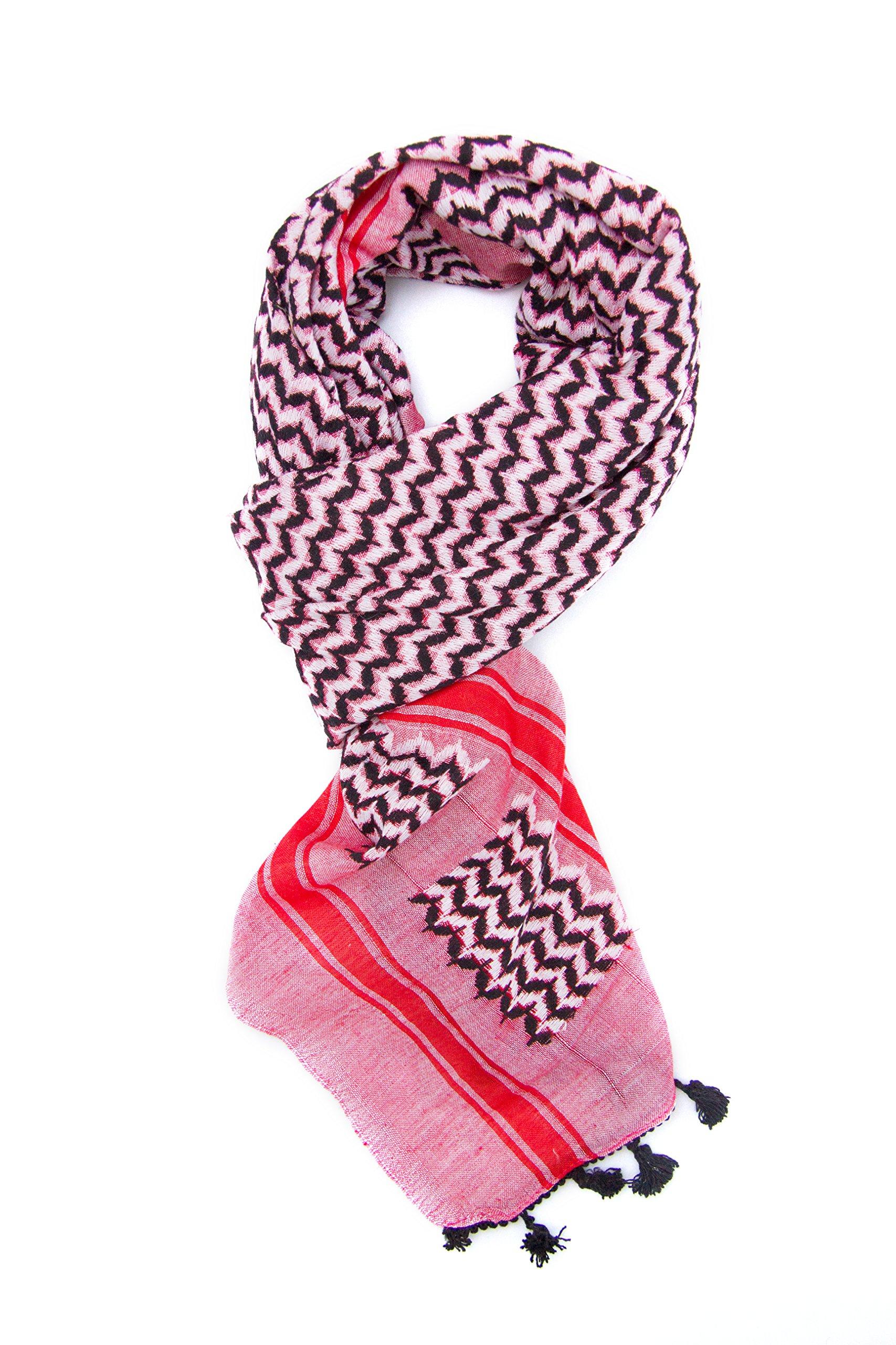 Hirbawi Premium Arabic Scarf 100% Cotton Shemagh Keffiyeh 47''x47'' Arab Scarf (Pink Zahra) Made in Palestine by Hirbawi (Image #5)