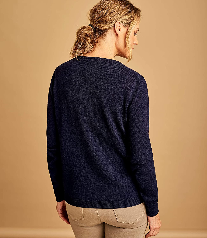 Femme Cachemire /& M/érinos Wool Overs Cardigan Classique /à col V