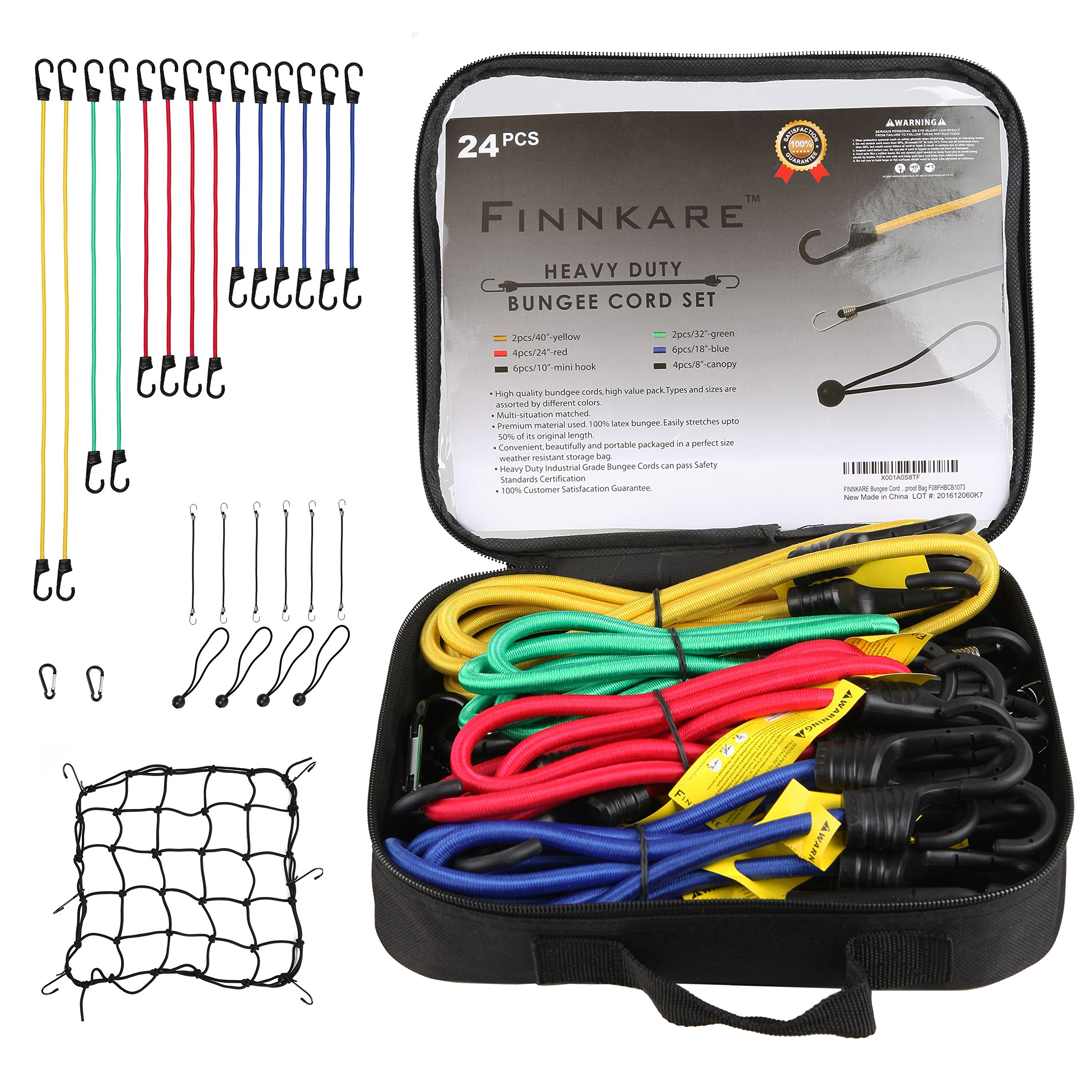 FINNKARE Premium Quality Bungee Cord Assortment in portable bag- 24 Piece Set, 100% latex bungee core, with Canopy Ties & Bonus Cargo Net and carabiner, Plastic Coated Metal Hooks