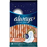 Always Ultra Thin Size 4 Overnight Pads With Wings, Unscented, 28 count (Pack of 3),Packaging May Vary