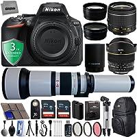 "Nikon D5600 24.2MP 1080P DSLR Camera w/ 3.2"" LCD - Wi-Fi & GPS Ready + 5 Lens - 6.5 to 2600mm - 64GB - 30PC Kit - Nikon 18-55VR - Opteka 6.5mm - Opteka 650-2600mm - Opteka 2.2X - 0.43x + 3YR Warranty"